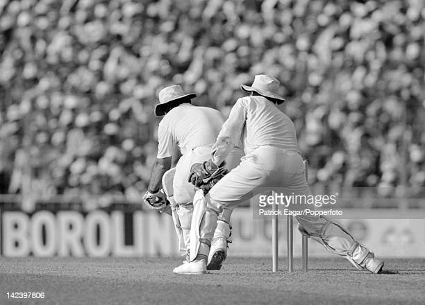Cricket World Cup 1987 Final England v Australia at Calcutta Mike Gatting plays the reverse sweep that had him caught by Greg Dyer off Allan Border...