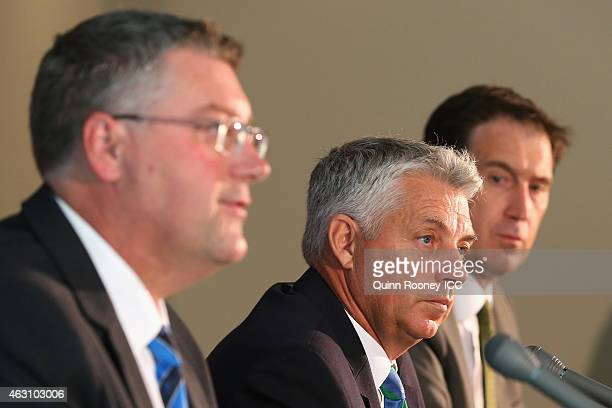 Cricket World Cup 2015 Chief Executive John Harnden ICC Chief Executive David Richardson and Cricket Australia Chief Executive James Sutherland speak...
