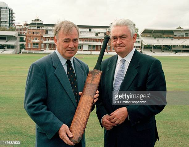 Cricket writer and historian David Frith with Hugh Sculley the presenter of the BBC Television programme Antiques Roadshow which was filmed at Lord's...