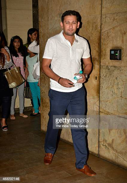 Cricketer Ajit Agarkar at the special screening of Marathi film Lai Bhari in Mumbai