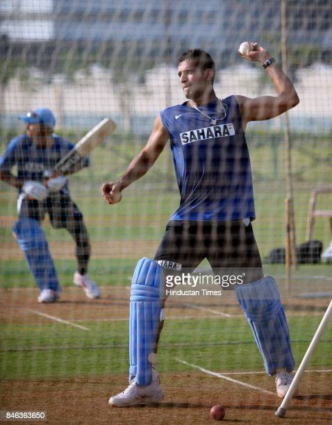 Cricketer Irfan Pathan practices at Mumbai Cricket Association ground at Bandra
