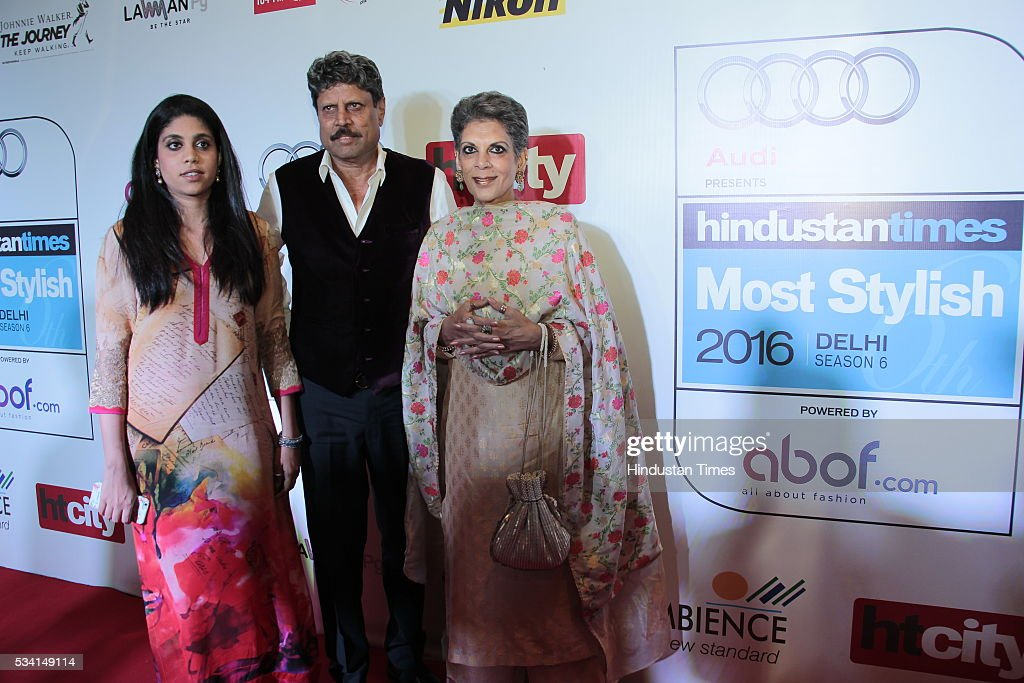 Cricketer Kapil Dev with his wife Romi Bhatia and daughter Amiya arriving at red carpet forHindustan Times Most Stylish Awards 2016 at hotel JW Marriot, Aerocity on May 24, 2016 in New Delhi, India.