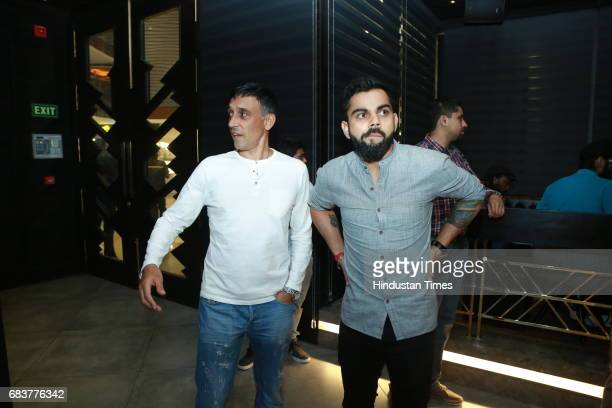 Cricketer Virat Kohli during special dinner for his Royal Challengers Bangalore teammates at his new restaurant Nueva RK Puram on May 12 2017 in New...
