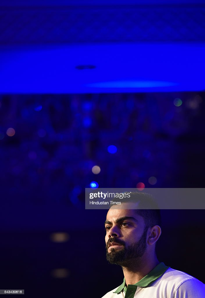 Cricketer Virat Kohili during the Launch of Stepathlon kids a company that shape future generation of India at Taj Place on June 28, 2016 in New Delhi, India.