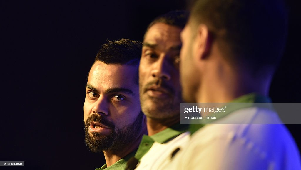 Cricketer Virat Kohili, Ravi Krishanan ( Co- founder Stepathlon Lifestyle), Amit Sajdeh (CEO, Cornerstone Sport& Entertainment) during the Launch of Stepathlon kids a company that shape future generation of India at Taj Place on June 28, 2016 in New Delhi, India.