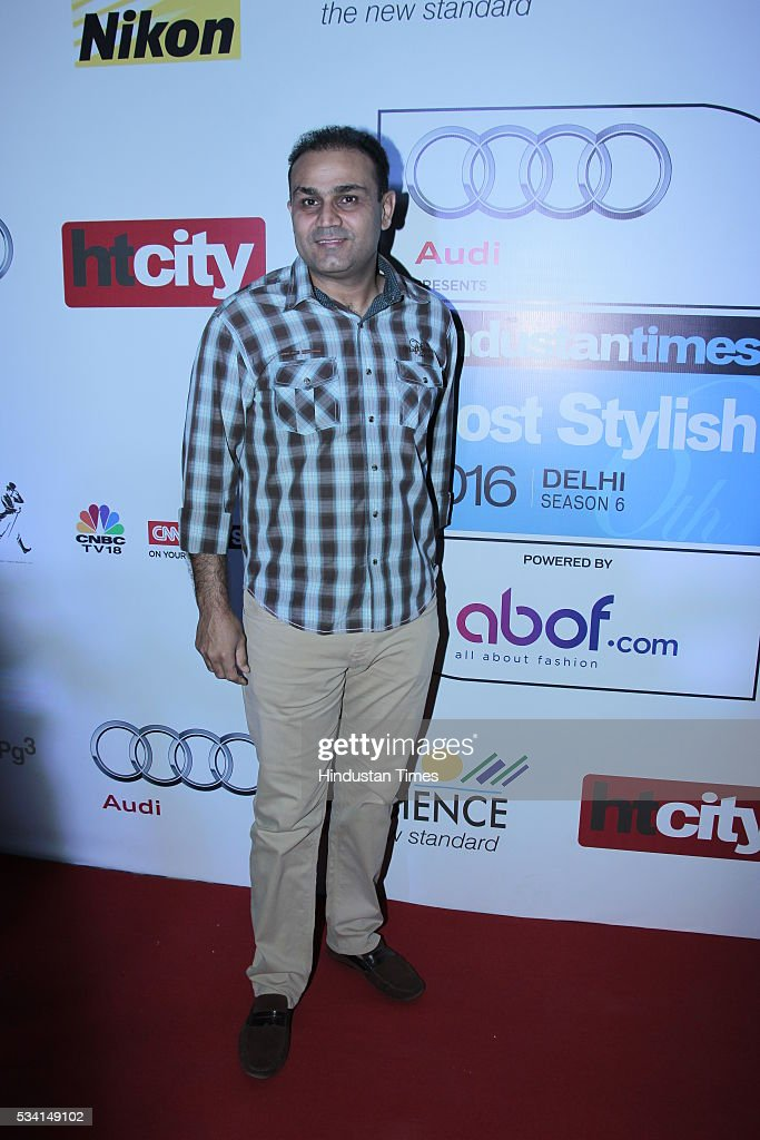 Cricketer Virender Sehwag arriving at red carpet forHindustan Times Most Stylish Awards 2016 at hotel JW Marriot, Aerocity on May 24, 2016 in New Delhi, India.