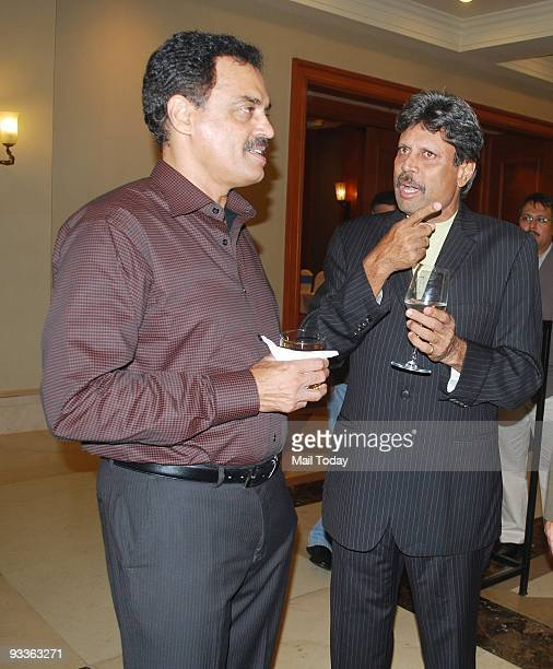 Cricketers Dilip Vengsarkar and Kapil Dev at a party to celebrate former cricketer Azharuddin's success in politics in Mumbai on Sunday November 22...