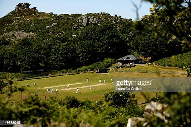 Cricketers from Lynton and Lynmouth Cricket Club play in the 'Valley of The Rocks' on June 26 2005 in Lynton and Lynmouth England