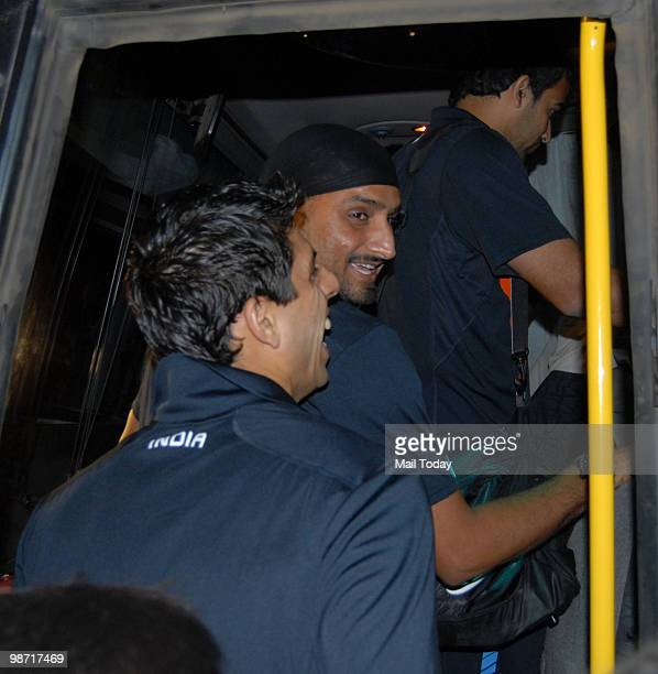 Cricketers Harbhajan Singh and Ashish Nehra leave for the T20 World Cup scheduled to begin from April 30 in the West Indies from Mumbai on Tuesday...