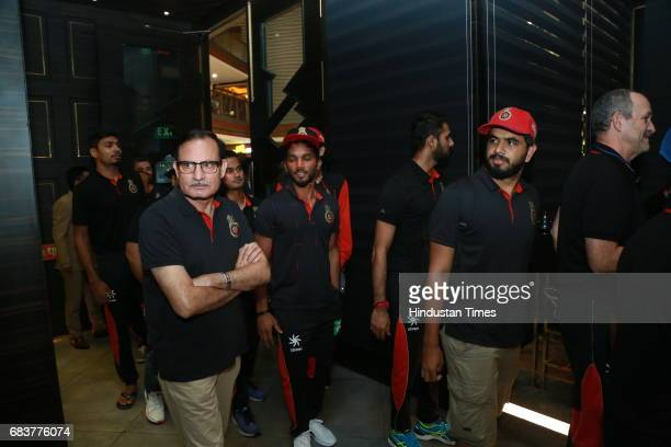 Cricketers Kedar Jhadav and Yuzvendra Chahal during special dinner for Royal Challengers Bangalore teammates by Virat Kohli at his new restaurant...