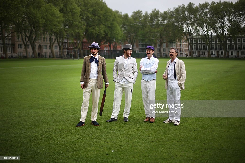 Cricketers of the Wisden XI and the Authors XI take to the field for a Victorian cricket match at Vincent Square on May 29, 2013 in London, England. The match celebrates the 150th anniversary the Wisden Cricketers' Almanack. The almanack is a cricket reference book published annually in the United Kingdom.