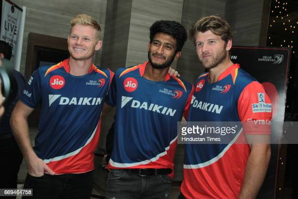 Cricketers Sam Billings Syed Khaleel Ahmed and Corey Anderson at a party hosted by Daikin to celebrate the three years of togetherness with Delhi...