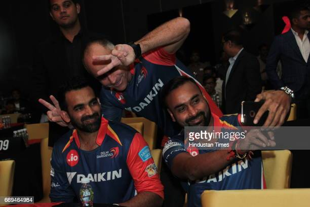 Cricketers Zaheer Khan and Amit Mishra at a party hosted by Daikin to celebrate the three years of togetherness with Delhi Daredevils team at Hotel...