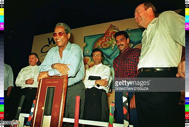 Cricketing greats Ian Chappell Sir Gary Sobers Asif Iqbal Ravi Shastri and Tony Greig at a cricket memorabila auction in a hotel in south Bombay on...
