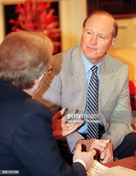 Cricketing legend Geoffrey Boycott is interviewed by Sir David Frost on his 'Breakfast With Frost' programme on BBC1 this morning Photo by Neil Munns...