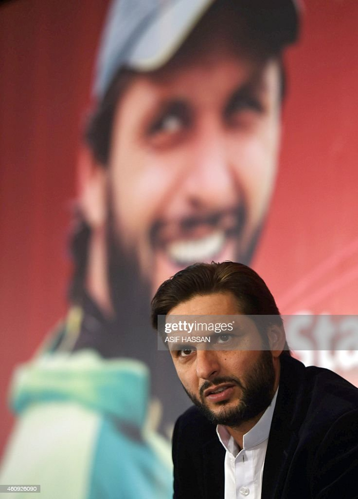 WITH 'Cricket-Pakistan-Afridi' FOCUS by Shahid HASHMI This photograph taken on December 30, 2014, shows Pakistani al-rounder Shahid Afridi as he attends a ... - cricketpakistanafridi-focus-by-shahid-hashmi-this-photograph-taken-on-picture-id460926090