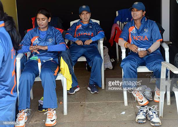 Women seek their place in sun at World Cup by Rachel O'Brien India women's cricket team captain Mithali Raj Sulakshana naik and Jaya Sharma look on...