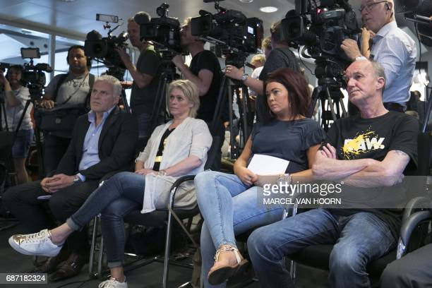 Crime reporter Peter R de Vries mother Berthie Verstappen sister Femke and father Peter Verstappen look on during a press conference on May 23 2017...