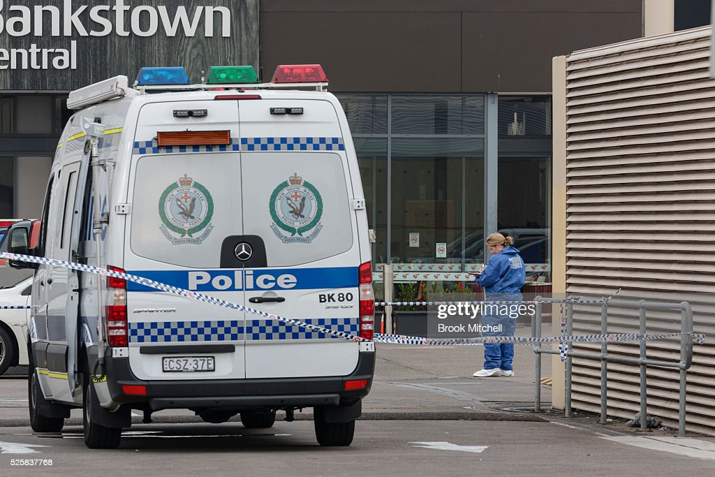 Crime scene images from Bankstown Central Shopping Centre on April 29, 2016 in Sydney, Australia. One man has been confirmed dead, with two others injured.