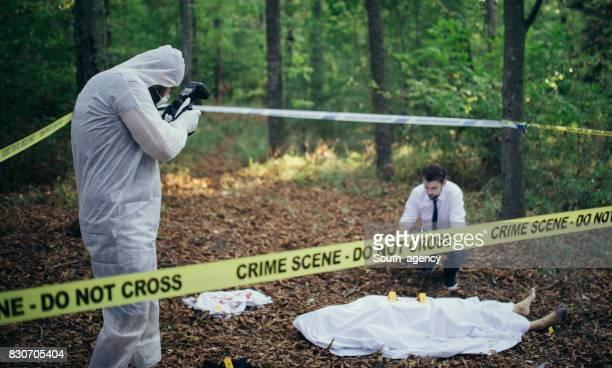Crime scene in forest