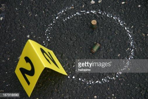Crime scene number and chalk outline
