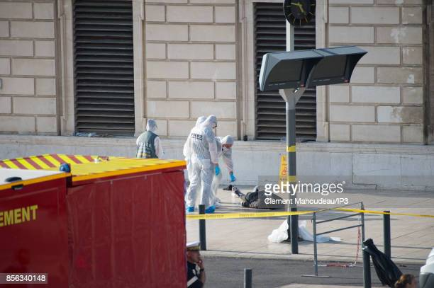 Crime scene of Marseille's attack in Front of the Gare Saint Charles Train station after a man armed with a knife killed two people before being shot...