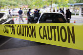 crime scene for vehicle search  protect by yellow caution tape