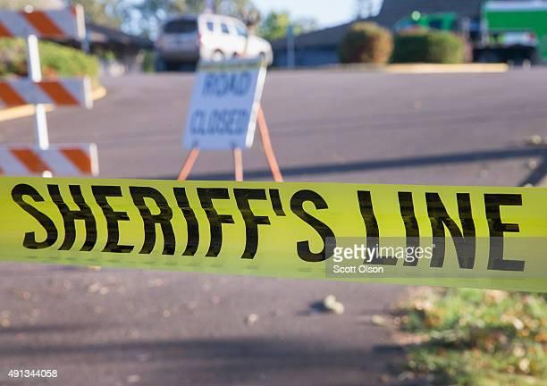 Crime scene tape still surrounds the campus of Umpqua Community College on October 4 2015 in Roseburg Oregon Chris Harper Mercer went on a shooting...
