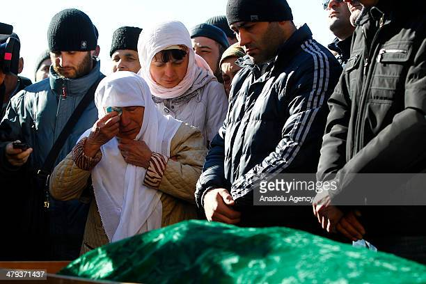 Crimean tatars attend the funeral of Resat Ahmetov lost for a while and allegedly killed by Russian forces in Simferopol on March 18 2014