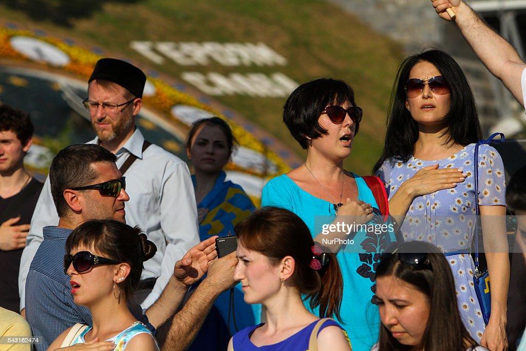 Crimean Tatars community in Ukraine celebrate the Crimean Tatars Flag Day on June 26, 2016.
