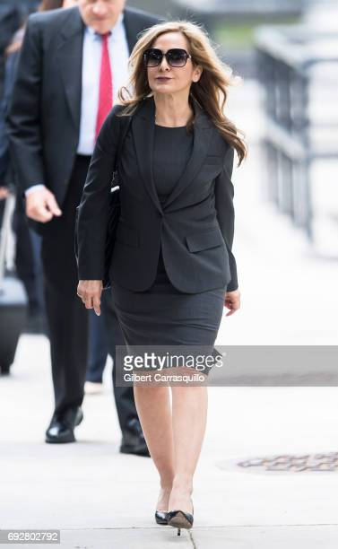 Criminal defense attorney Angela Agrusa arrives to the first day of Bill Cosby court trial at Montgomery County Courthouse on June 5 2017 in...