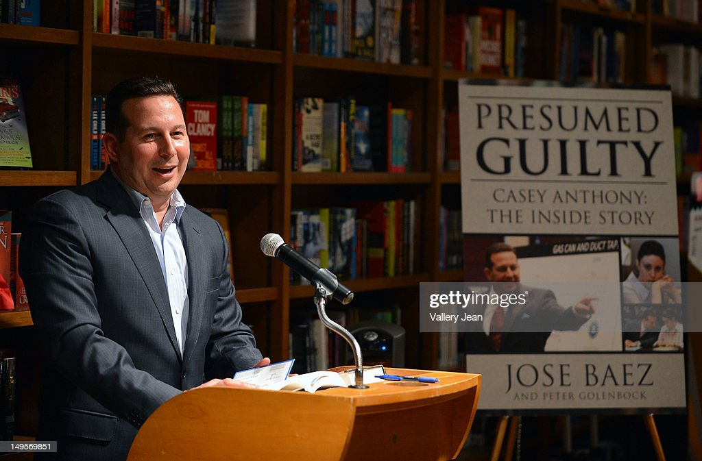 Criminal defense attorney Jose Baez signs copies of his book 'Presumed Guilty: Casey Anthony: The Inside Story at Books and Books on July 30, 2012 in Coral Gables, Florida.