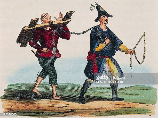 Criminal in the wooden stocks being led through the streets engraving from The manners customs and costumes of all nations of the world by Auguste...
