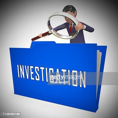 Criminal Investigation File Showing Crime Detection Of Legal Offense 3d Illustration : Stock Photo