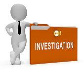Criminal Investigation File Showing Crime Detection Of Legal Offense 3d Illustration. Analyzing Evidence Of Fraud Or Murder