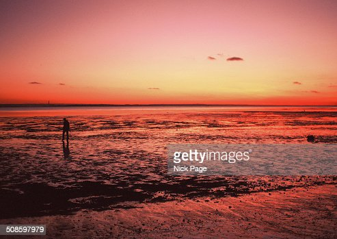 Crimson seashore sunset : Foto de stock