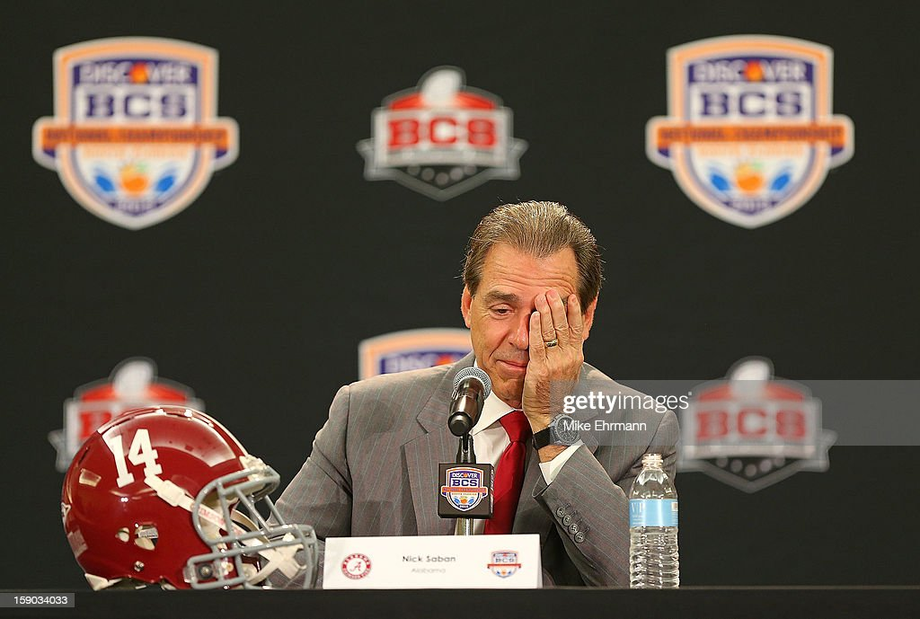 Crimson Tide head coach <a gi-track='captionPersonalityLinkClicked' href=/galleries/search?phrase=Nick+Saban&family=editorial&specificpeople=242860 ng-click='$event.stopPropagation()'>Nick Saban</a> spreaks with members of the media during the Discover BCS National Championship Head Coaches Press Conference on January 6, 2013 in Fort Lauderdale, Florida.
