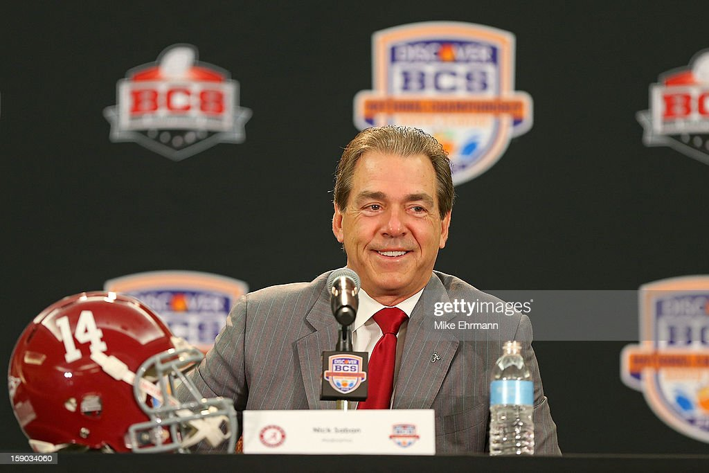 Crimson Tide head coach Nick Saban spreaks with members of the media during the Discover BCS National Championship Head Coaches Press Conference on January 6, 2013 in Fort Lauderdale, Florida.