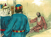 "The crippled man saw Peter and John as they were about to enter the temple. He said to them, ""Sirs, give me money."" This story is in the book of Acts in the New Testament of the Bible."