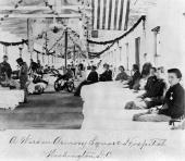 Crippled union soldiers and nurses at the Armory Square Hospital at Washington DC