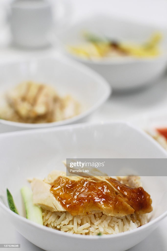 Cripsy chicken rice : Stock Photo