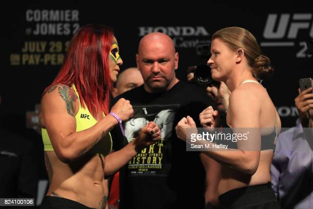 Cris Cyborg of Brazil faces off with Tonya Evinger during the UFC 214 weighin at Honda Center on July 28 2017 in Anaheim California Cris Cyborg will...