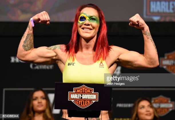 Cris Cyborg of Brazil poses on the scale during the UFC 214 weighin inside the Honda Center on July 28 2017 in Anaheim California