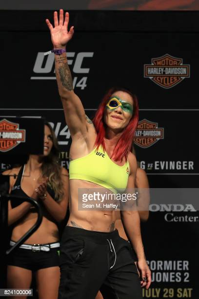 Cris Cyborg of Brazil waves to fans during the UFC 214 weighin at Honda Center on July 28 2017 in Anaheim California Cyborg will fight Tonya Evinger...