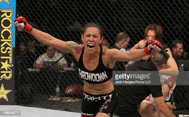 Cris 'Cyborg' Santos reacts to her knockout victory over Hiroko Yamanaka during the Strikeforce event at the Valley View Casino Center on December 17...