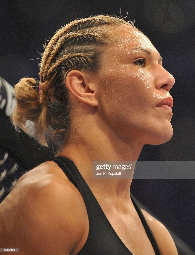 Cris Cyborg (Pictured) waits for the start of the first round against Gina Carano during their Middleweight Championship fight at Strikeforce: Carano vs. Cyborg on August 15, 2009 in San Jose, California.