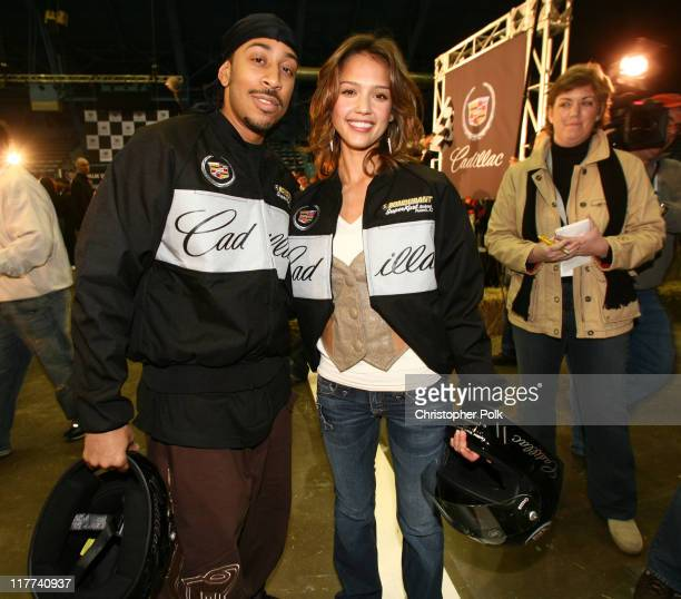 Cris 'Ludacris' Bridges and Jessica Alba during Super Bowl XL Fourth Annual Cadillac Super Bowl Grand Prix at Michigan State Fair Grounds in Detroit...