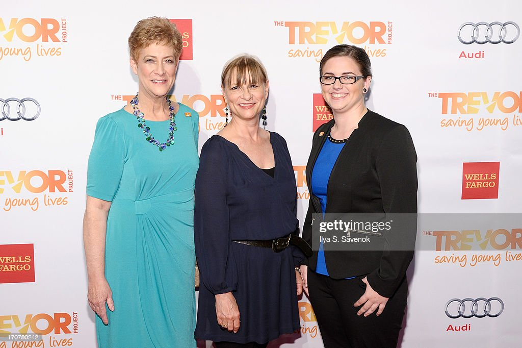 Cris McConnell, the Trevor Project Co-Founder Peggy Rajski and Molly McConnell speak on stage at The Trevor Project's 2013 'TrevorLIVE' Event Honoring Cindy Hensley McCain at Chelsea Piers on June 17, 2013 in New York City.