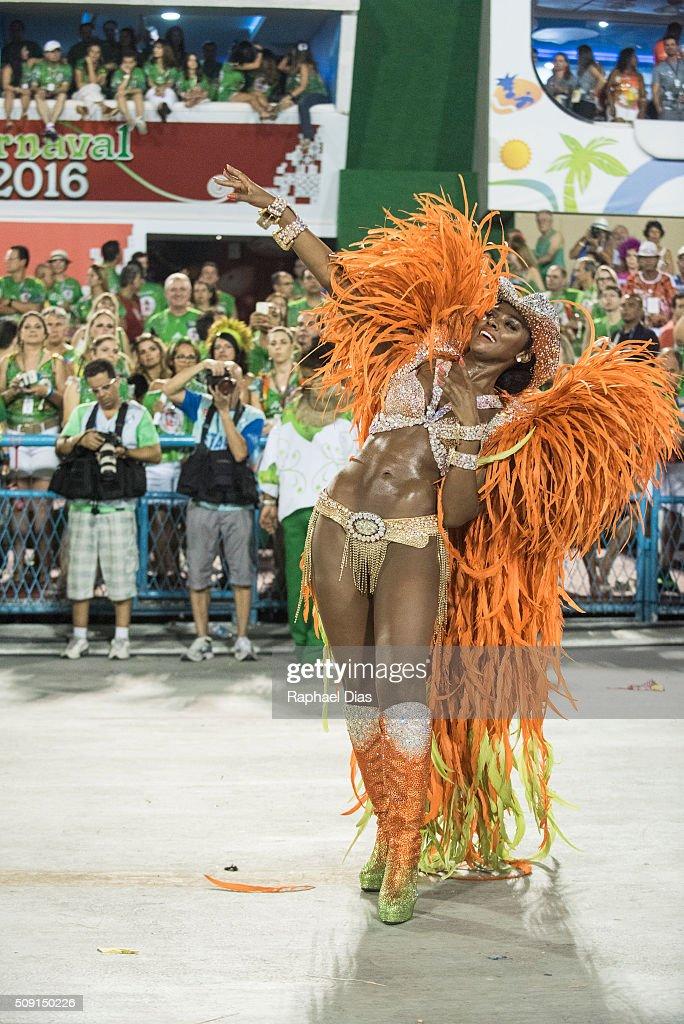 Cris Vianna attends to the Rio Carnival in Sambodromo on February 8, 2016 in Rio de Janeiro, Brazil. Despite the Zika virus epidemic, thousands of tourists gathered in Rio de Janeiro for the carnival.