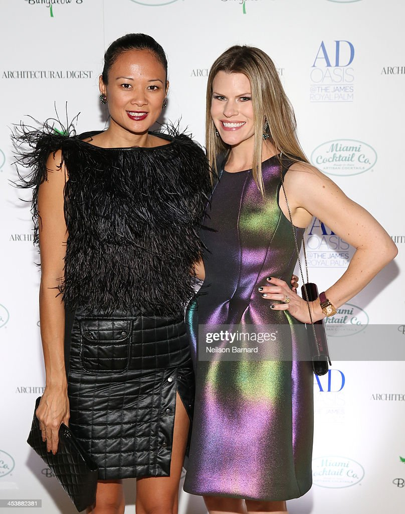 Criselda Breene and Suzy Buckley attend AD Oasis And Amy Sacco Host Bungalow 8 Party at James Royal Palm Hotel on December 5, 2013 in Miami Beach, Florida.